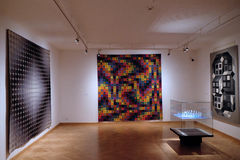 Artwork at the Vasarely Museum in Pecs Hungary. Abstract Tapestry and Three dimensional Artwork at the Vasarely Museum in Pecs Hungary Stock Image