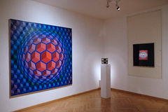 Artwork at the Vasarely Museum in Pecs Hungary. Abstract Tapestry and Three dimensional Artwork at the Vasarely Museum in Pecs Hungary Stock Photo