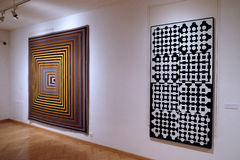 Artwork at the Vasarely Museum in Pecs Hungary. Tapestry Artwork at the Vasarely Museum in Pecs Hungary Stock Image