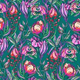 Artwork vector flower pattern Stock Images