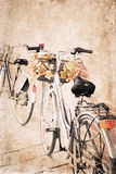 Artwork in vintage style, bicycles stock photos