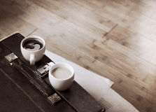 Artwork  in vintage  style, coffee Stock Photography