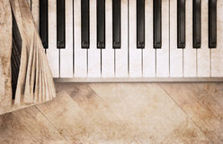 Artwork  in vintage style,  fortepiano Royalty Free Stock Photo