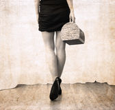 Artwork  in vintage style, woman going away Royalty Free Stock Image