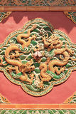 Artwork on a wall of an ancient Buddhist temple, Beijing, China Stock Images