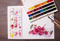 Watercolor painting cherries. Artwork, watercolor painting cherries with drawing tools on a wooden table royalty free stock image