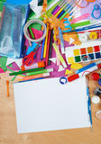 Artwork workplace with creative accessories, art tools for painting and drawing Stock Images