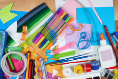 Artwork workplace with creative accessories, art tools for painting and drawing Royalty Free Stock Photo