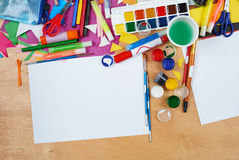 Artwork workplace with creative accessories, art tools for painting and drawing Stock Photo