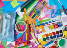 Artwork workplace with creative accessories, art tools for painting and drawing Royalty Free Stock Images