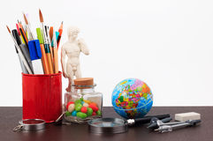 Artwork workplace with creative accessories, creative art work. stock photo