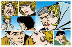 Artwork with young couples in love. Collection of artwork with young couples in love, varied scenes old comic style, Relationships between couples Stock Images