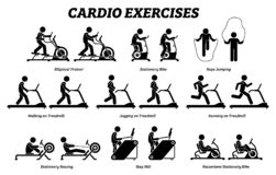 Cardio exercises and fitness training at gym icons and pictogram. royalty free illustration