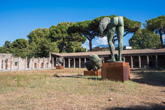Artworks of Polish sculptor Mitoraj in Pompeii Royalty Free Stock Photography