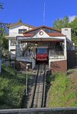 Artxanda-Standseilbahn an der Bergstation stockbilder