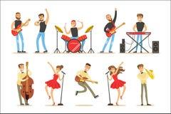 Artyści Bawić się Muzycznych instrumenty I śpiew Na scena koncerta seriach muzyk kreskówki wektoru charaktery ilustracja wektor