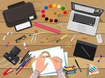 Artyści lub projektanta miejsce pracy royalty ilustracja