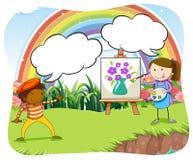 Artyści maluje na kanwie w parku royalty ilustracja