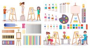 Artyści przy pracą i sztuką Ximpx Ustaloną ilustrację royalty ilustracja