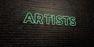 ARTYŚCI - Realistyczny Neonowy znak na ściana z cegieł tle - 3D odpłacający się królewskość bezpłatny akcyjny wizerunek ilustracja wektor