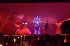 Artyści z Zaświecać szatami, tancerza występ, bajka, Prowadzący światło ubiór, Obiadowego przyjęcia wydarzenie obrazy royalty free