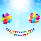Arty Background with Flags and Balloons Vector Illustration Stock Image