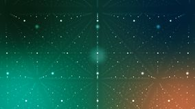 Sci-fi Cyberspace with Spotted Lines. An arty 3d illustration of a dark green and blue cyberspace. It is full of spotted rhombuses with crystal looking Royalty Free Stock Image