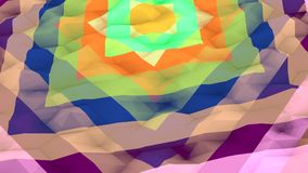 Lowpoly Background with Imposed Squares. An arty 3d illustration of a multicolored lowpoly background with a set of different size squares. A round yellow dot is Stock Photo