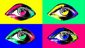 Arty four multicolored female human eyes. 3d illustration of four beautiful human female eyes with dark pupils, colorful irises and flickering retinas in the vector illustration