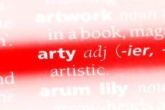 Arty. Word in a dictionary.  concept royalty free stock photo