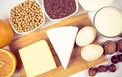 Artykuły żywnościowy zawiera duże ilości wapnie na białym tle zdjęcia royalty free