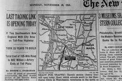 1963 artykuł w gazecie Ostatni Taconic połączenie Otwiera Dzisiaj fotografia stock