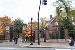 Artykuł wstępny: Boston Massachusetts, usa,/, 6th 2017 Listopad Uniwersytet Harwarda, w Cambridge, Massachusetts obrazy stock