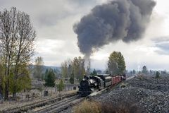 ARTYKUŁ WSTĘPNY, 18 2015 Październik, Historyczni kontrpara pociągi, dziedzictwo linia kolejowa Sumpter Dolinna kolej i linia kol Zdjęcie Stock