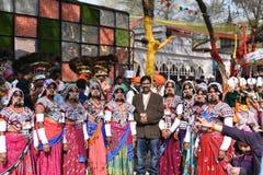 Artykuł wstępny: Surajkund, Haryana, India: Feb 06th, 2016: Duch karnawał w 30th zawody międzynarodowi wykonuje ręcznie karnawał Zdjęcie Stock
