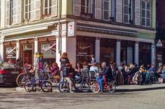 Artykuł wstępny: 25th Marzec 2017: Strasburg, Francja Wiosny ulica vi Fotografia Royalty Free