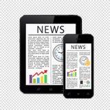Artykuły prasowi na pastylka komputerze osobistym i telefon komórkowy odizolowywający na przejrzystym tle royalty ilustracja