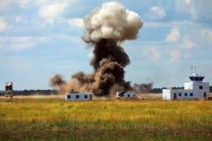 Artyleryjski łuskanie obiekt wojskowy przy ćwiczeniami Fotografia Royalty Free