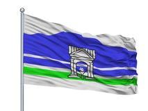 Artyom City Flag On Flagpole, Rússia, Primorsky Kray, isolado no fundo branco ilustração royalty free