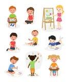 Artystów dzieciaków farby sztuki ślicznego wektorowego dziecka grafiki malarza dzieciaka dziewczyn i chłopiec kreatywnie rysunkow ilustracji