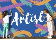Artystów pomysły Kreatywnie Wyobrażają sobie słowa pojęcie Zdjęcia Stock