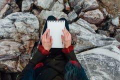Artysta dziewczyny obrazu obsiadanie na skałach przy falezą, notepad Cudowny spadku widok Obraz Stock