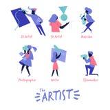 Artysta ikona w żywym colour stylu pisarz, muzyk, pisarz, filmaker, 2d i 3d artysta, - wektorowa ilustracja royalty ilustracja