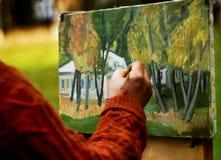 Artysta maluje obrazek Zdjęcia Royalty Free