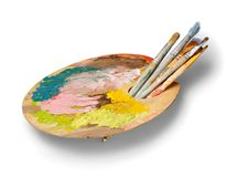Artysta paleta, barwi dalej i szczotkuje obrazy royalty free