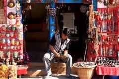 Artysta Przy Swayambhunath świątynią, Kathmandu, Nepal Zdjęcia Royalty Free