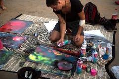 Artysta układał występ na plażowym Arambol India, Goa 15 01 2018 obrazy royalty free