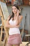 artysty brunetki sztalugi przodu model Zdjęcie Royalty Free