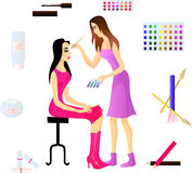 artysty klient jej makeup royalty ilustracja