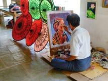 Artysty obraz przy świątynią w Bagan, Myanmar Zdjęcia Royalty Free